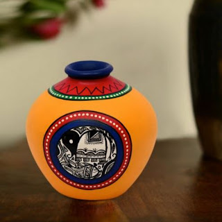 Terracotta Handpainted Warli Vase Matki Yellow 6 Inch from Beautiful Colorful and Stylish Vase Collection