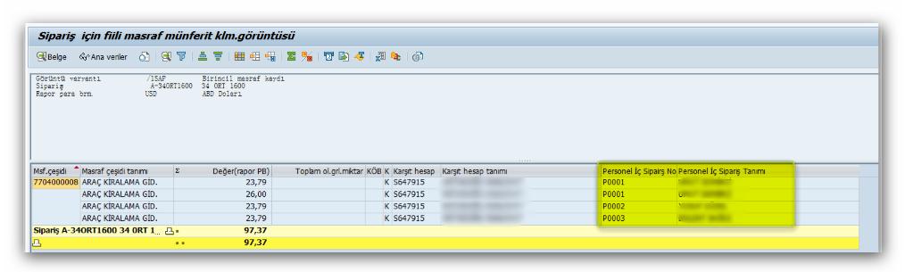 SAP Sisteminde İç Siparişlerin Kullanıcı Bazlı Olarak Takip Edilmesi