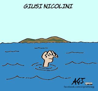 giusi nicolini, lampedusa, elezioni amministrative, sindaci uscenti, accoglienza, satira, vignetta