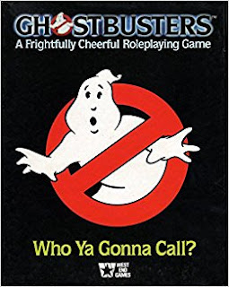Cover of Ghostbusters: A Frightfully Cheerful Roleplaying Game, published by West End Games.