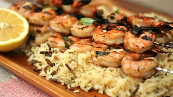 Grilled Shrimp With Garlic Rice - 1