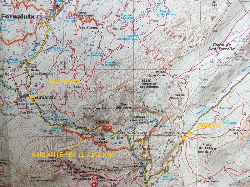 Carta trekking facile: El Barranc de Biniaraix