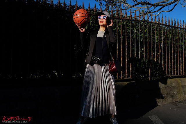 White Caviar Life's Vivienne Shui modelling for an impromptu street-basketball fashion shoot after the TISSOT NBA Finals Party Sydney - Photography by Kent Johnson.