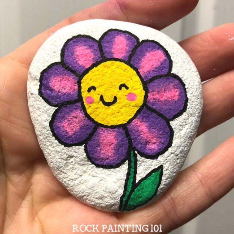 flower rock painting idea for kids