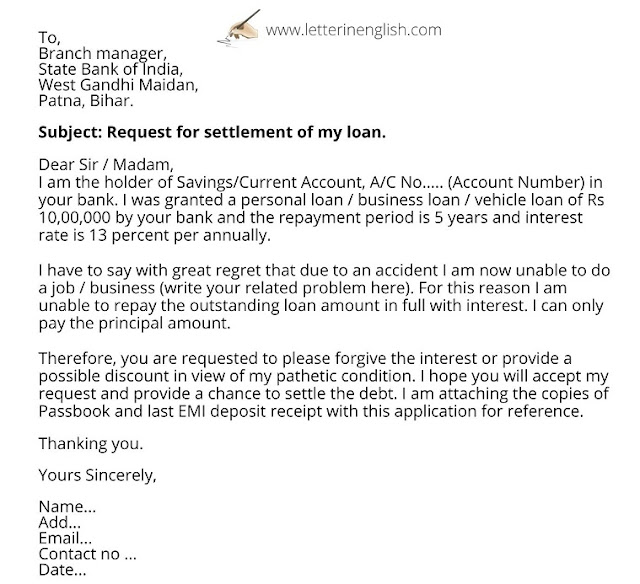 letter for one time settlement of loan