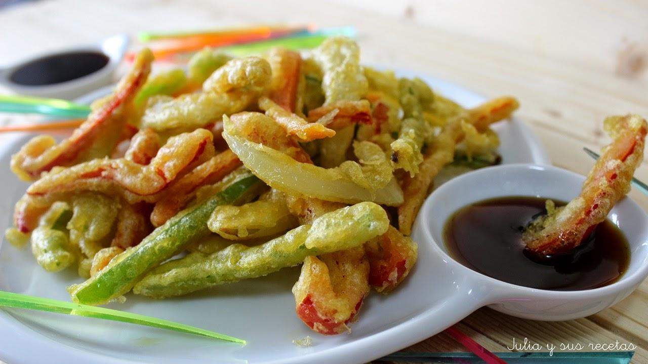 Tempura de verduras con salsa de soja y miel. Julia y sus recetas