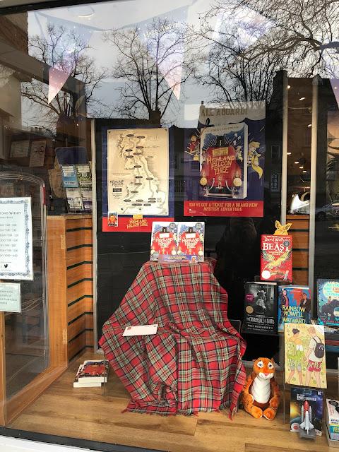 Chez Maximka, bookshop window display, Highland Falcon Thief
