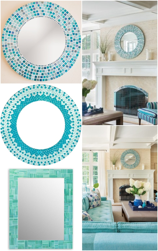 Turquoise Blue Mosaic Mirrors