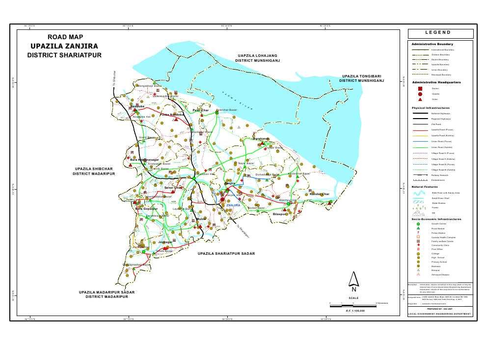 Zajira Upazila Road Map Shariatpur District Bangladesh