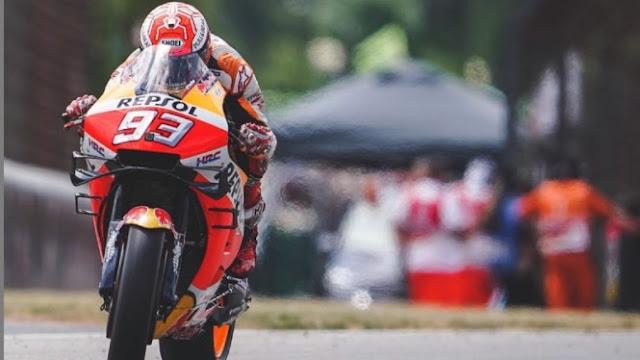 Pembalap Repsol Honda, Marc Marquez saat turun di MotoGP Jerman