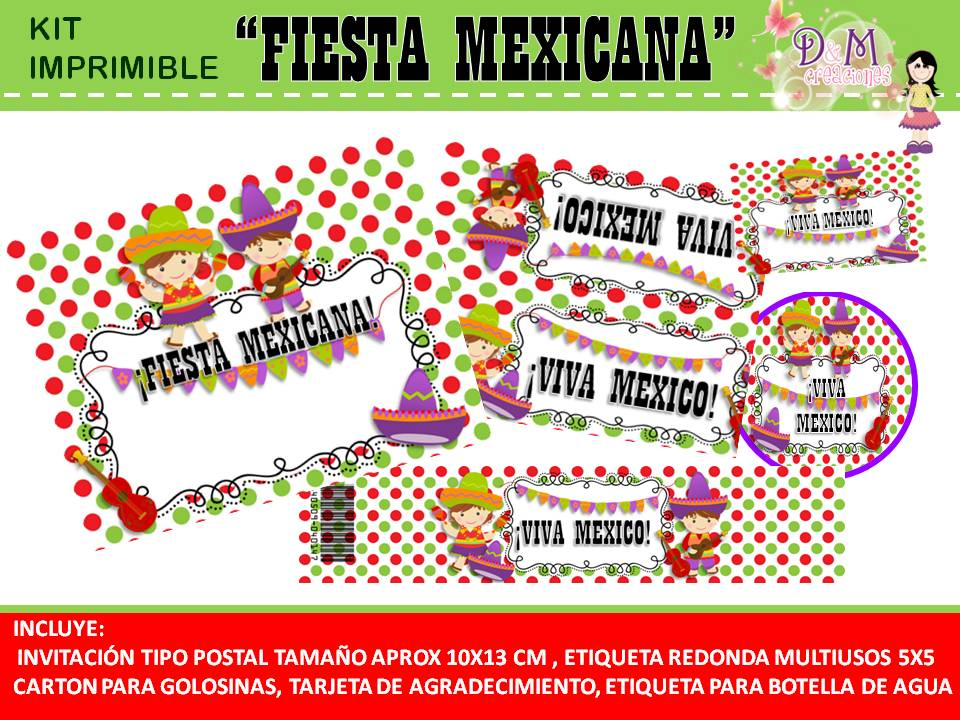 D M Creaciones Kit Imprimible Fiesta Mexicana Gratis