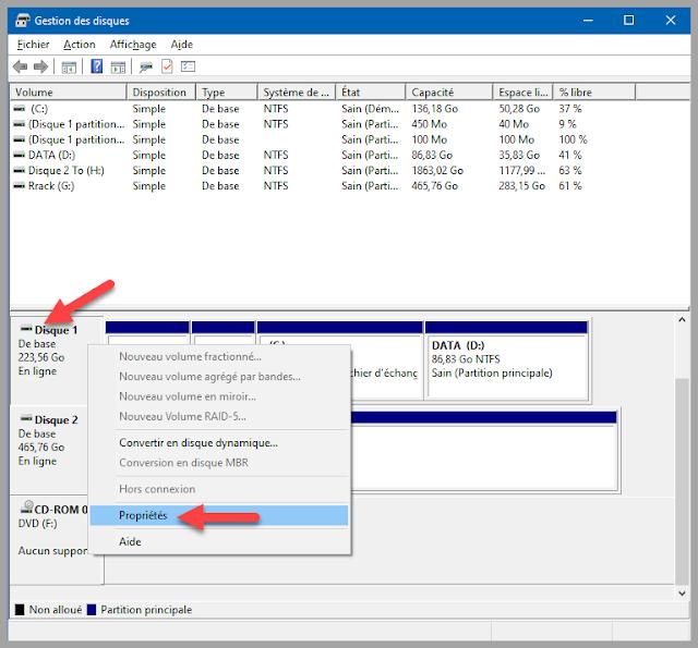 vérifier, trouver, table, type, partition, disque dur, MBR, GPT, Windows 10, trucs et astuces. Administration, gestion des disques