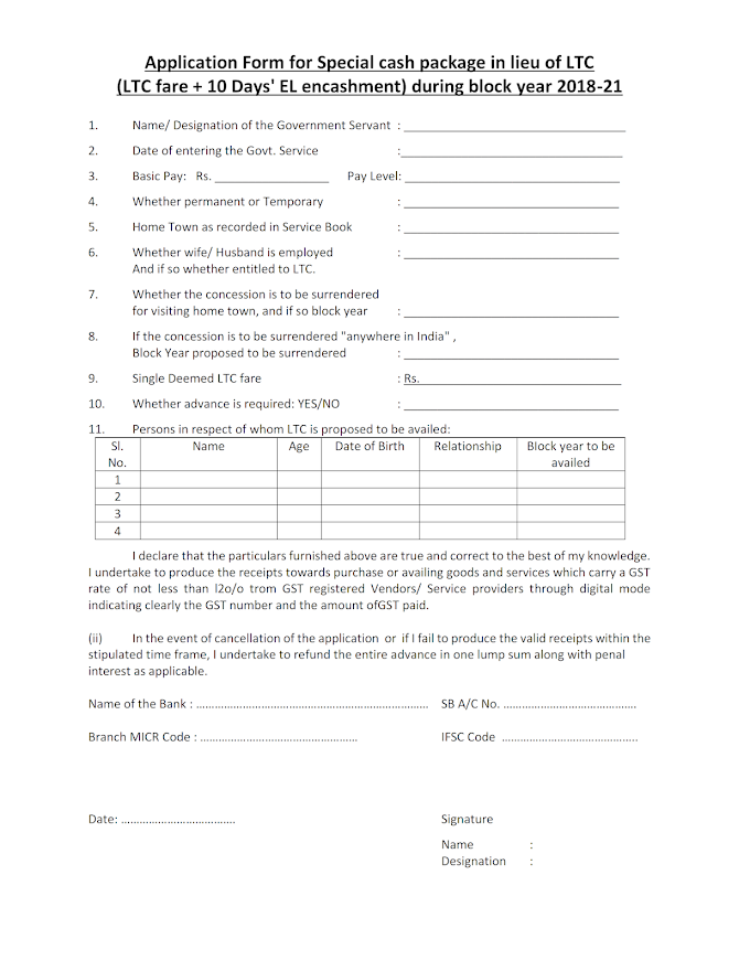 Application Form for Special cash package in lieu of LTC