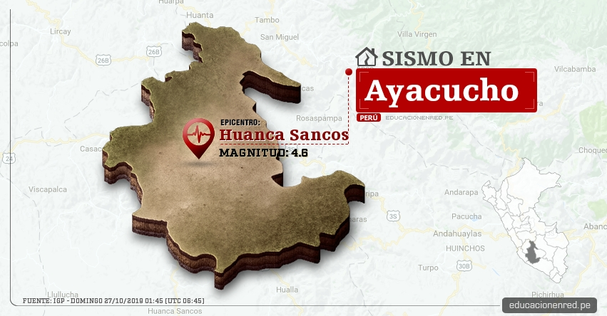 Temblor en Ayacucho de Magnitud 4.6 (Hoy Domingo 27 Octubre 2019) Sismo - Epicentro - Huanca Sancos - IGP - www.igp.gob.pe