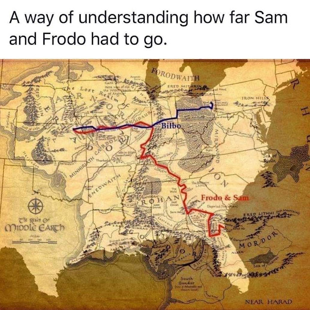 map of middle earth frodo's journey - A way of understanding how far Sam and Frodo had to go. Forodwaith Rid st Iron Hele Uin Forlindor Mirkwood Se of Minhirath CARDotar En Edwaith Frode & Sam falo Middle Earth Y Gorgorat Mordor South Near Harad