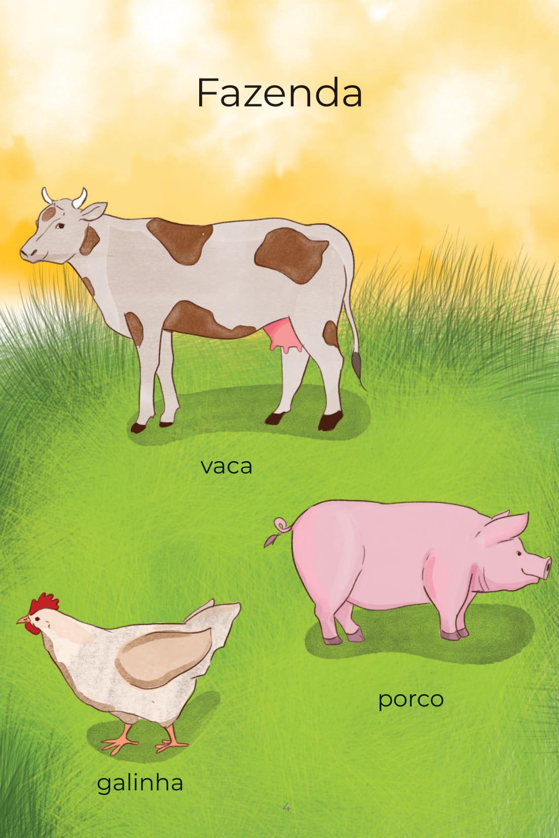 Fazenda vaca porco galinha