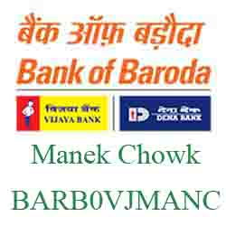 Vijaya Baroda Manek Chowk Branch Ahmedabad New IFSC, MICR