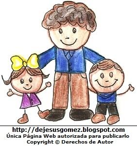 Dibujo de niños felices con su papá o padre pintado a colores. Dibujo hecho por Jesus Gómez