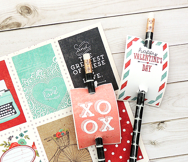 Decorate pencils with cute paper valentines