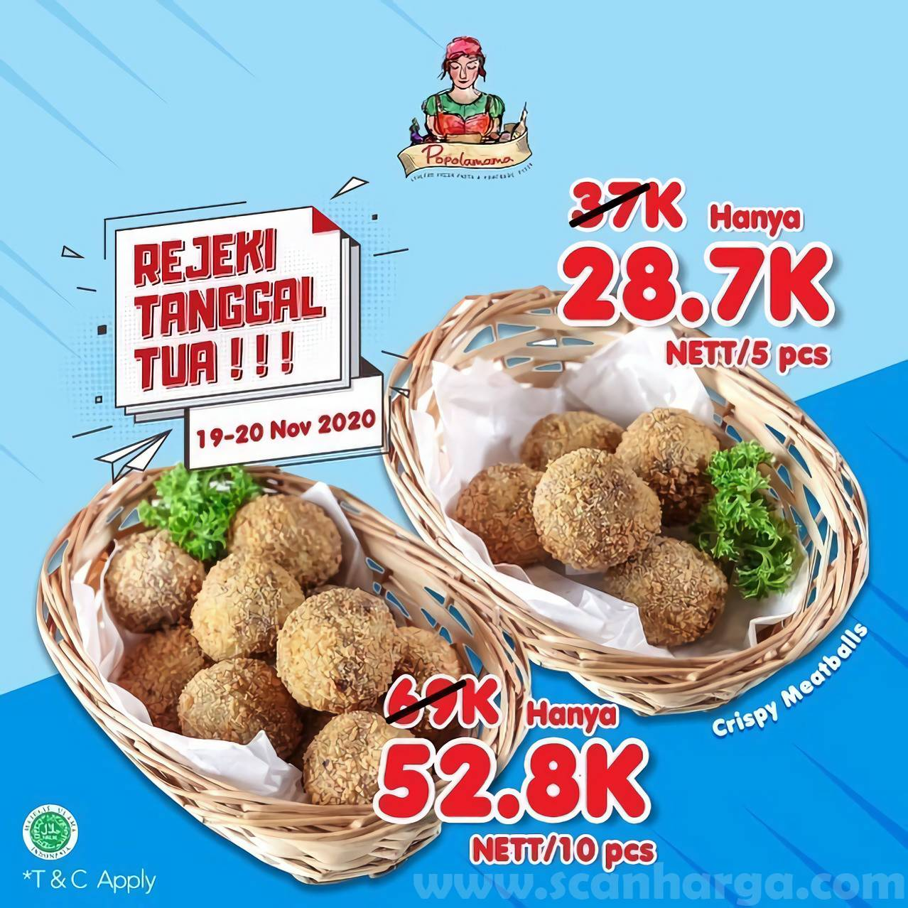Promo Popolamama Harga Spesial Paket Crispy Meatballs mulai Rp 28.700 nett /5Pcs