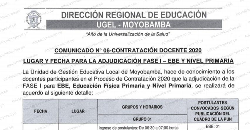 DRE San Martín: Lugar Y Fecha para Adjudicación Fase I - EBE y Nivel Primaria - Contratación Docente 2020 UGEL Moyobamba