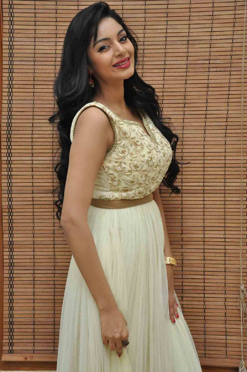 Beautiful Telugu Girl Sanam Shetty Long Hair White Dress Photos