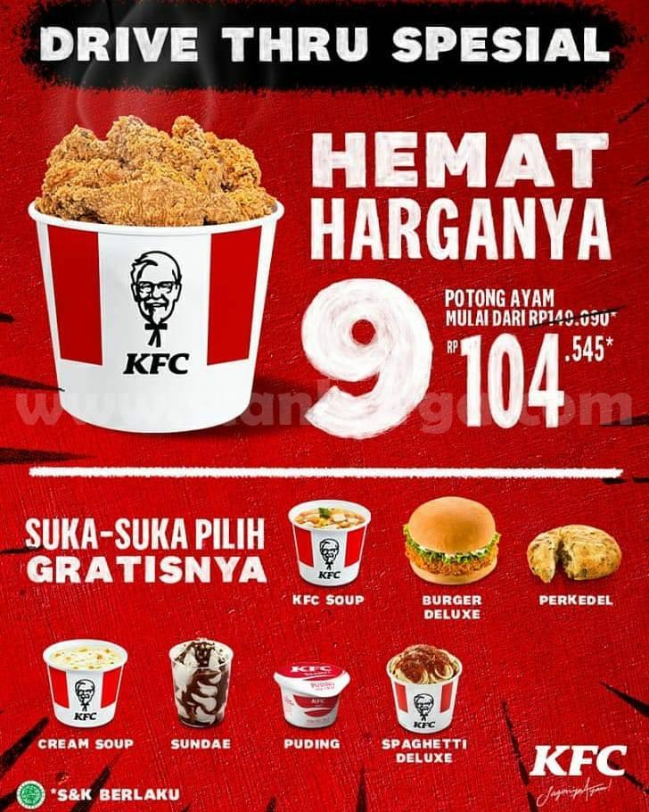 KFC Drive Thru Spesial Promo 9 Potong Ayam Mulai dari Rp 104.545