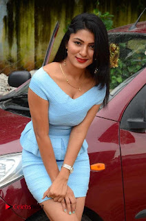 Actress Ankitha Jadhav Pictures in Blue Short Dress at Cottage Craft Mela  0014