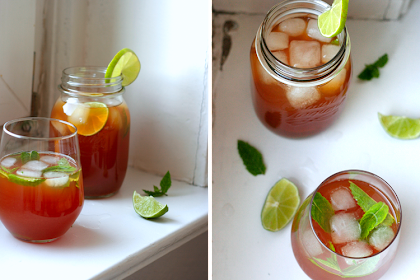 Erfrischung gefällig? {Lime Ginger and Mint Iced Tea}