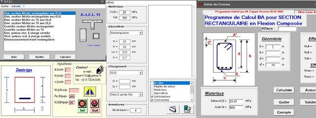 application de calcul éléments de bâtiments