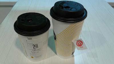 medium Americano and large hot tea