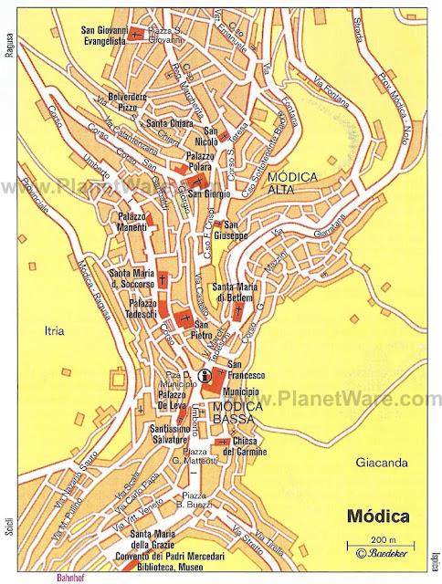 Mapa da cidade de Módica, Sicília