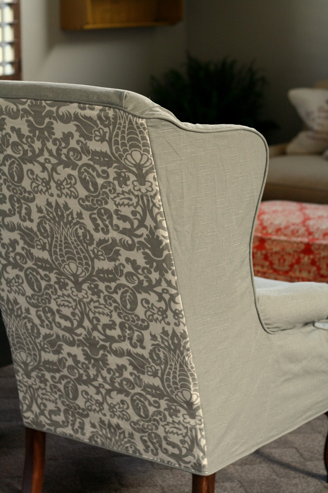 U Shaped Chair Slipcovers Red Swivel Office Custom By Shelley Gray Wingbacks With Damask Back