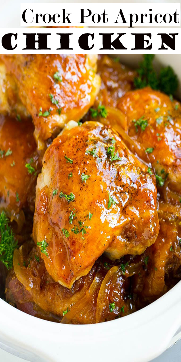 Crock Pot Apricot Chicken Recipe is sweet and savory. Apricot preserves combine with soy sauce and ginger for chicken you can't resist. Try this easy meal. #crockpot #chicken #chickenrecipe #crockpotchicken #dinner #Maindish