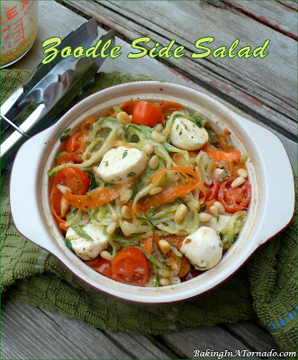 Zoodle Side Salad, a cold side dish that makes a great addition to any lunch, dinner, picnic, cookout, or pot luck. | Recipe developed by www.BakingInATornado.com | #recipe #vegetables