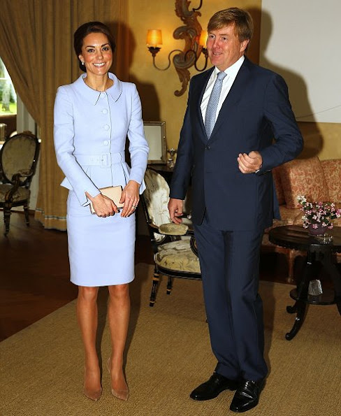 Kate Middleton wore the Catherine Walker dress in pale blue, GIANVITO ROSSI Suede Pumps, LK BENNETT Nina Clutch bag