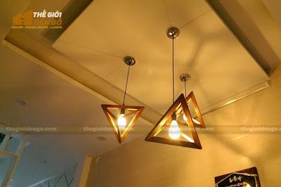 Thế Giới Đèn Gỗ - Đèn gỗ trang trí tam giác đều