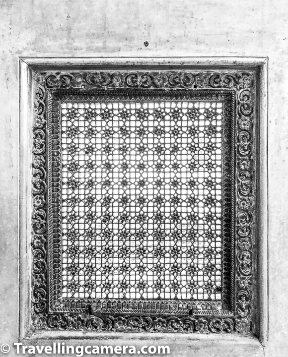 Most of the windows with netted art-work on marble have different designs and I was wondering what could be the reason. It's not even like designs differed across sections of the Udaipur City Palace. I am sure there must be some thinking behind that our guide certainly didn't know about it.