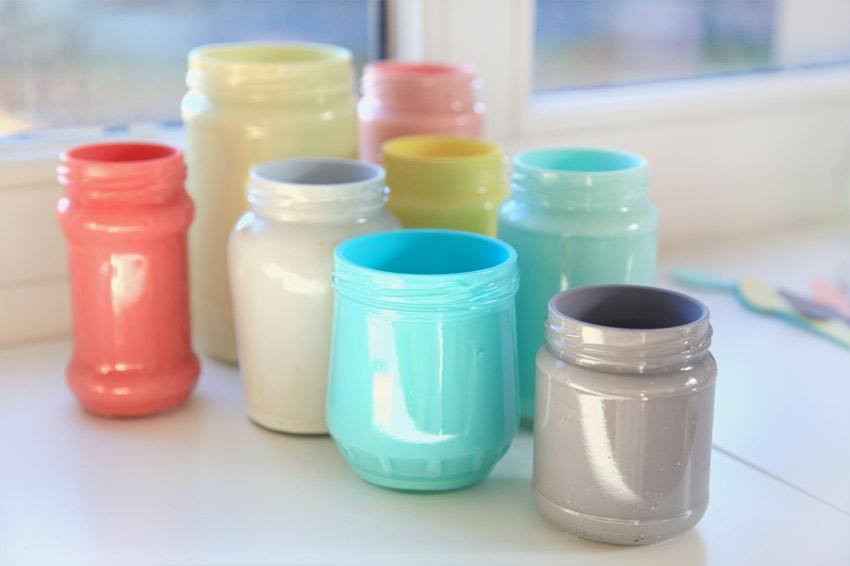 Top Riciclo Creativo : Riutile: Vasetti di vetro colorati RZ32