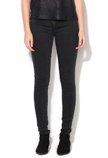 Jeansi skinny negru stins
