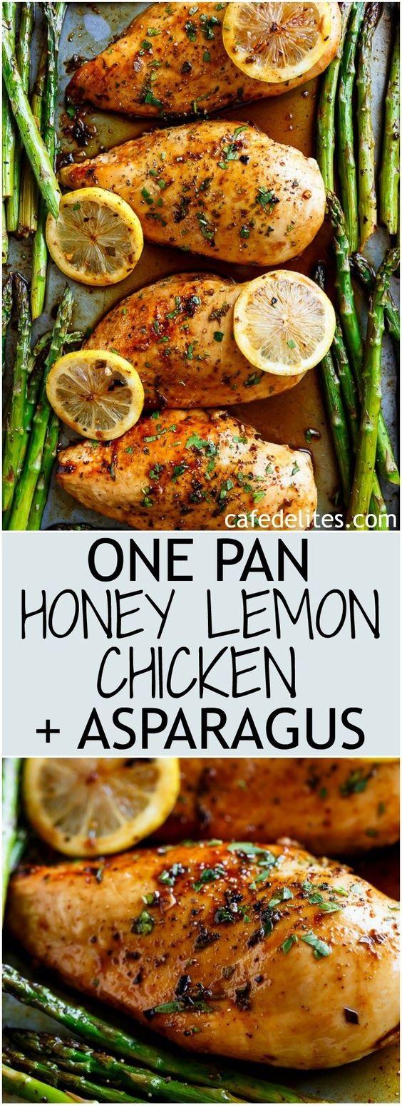 One Pan Honey Lemon Chicken Asparagus