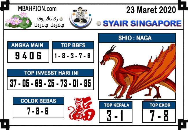 Prediksi Togel Singapura Senin 23 Maret 2020 - Syair Mbahpion