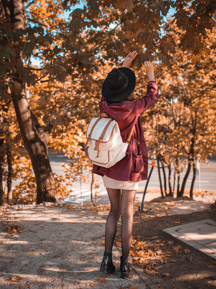 girl and backpack