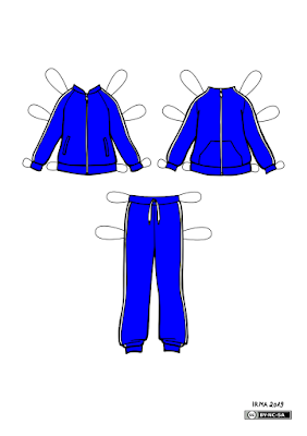 Kaks dressipluusi ja dressipüksid Fredikesele. Vasakpoolsel pluusil on sisse õmmeldud taskud. Parempoolsel on kängurutasku. Mõlemal on ees tõmblukk ja varukate külgedel triibud. Ka dressipükstel on triibud külgedel.