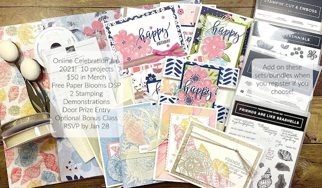 Stampin' Up! Pretty Perennials and Friends Are Like Seashells Bundles.  Online event.  RSVP by Jan 28, 2021