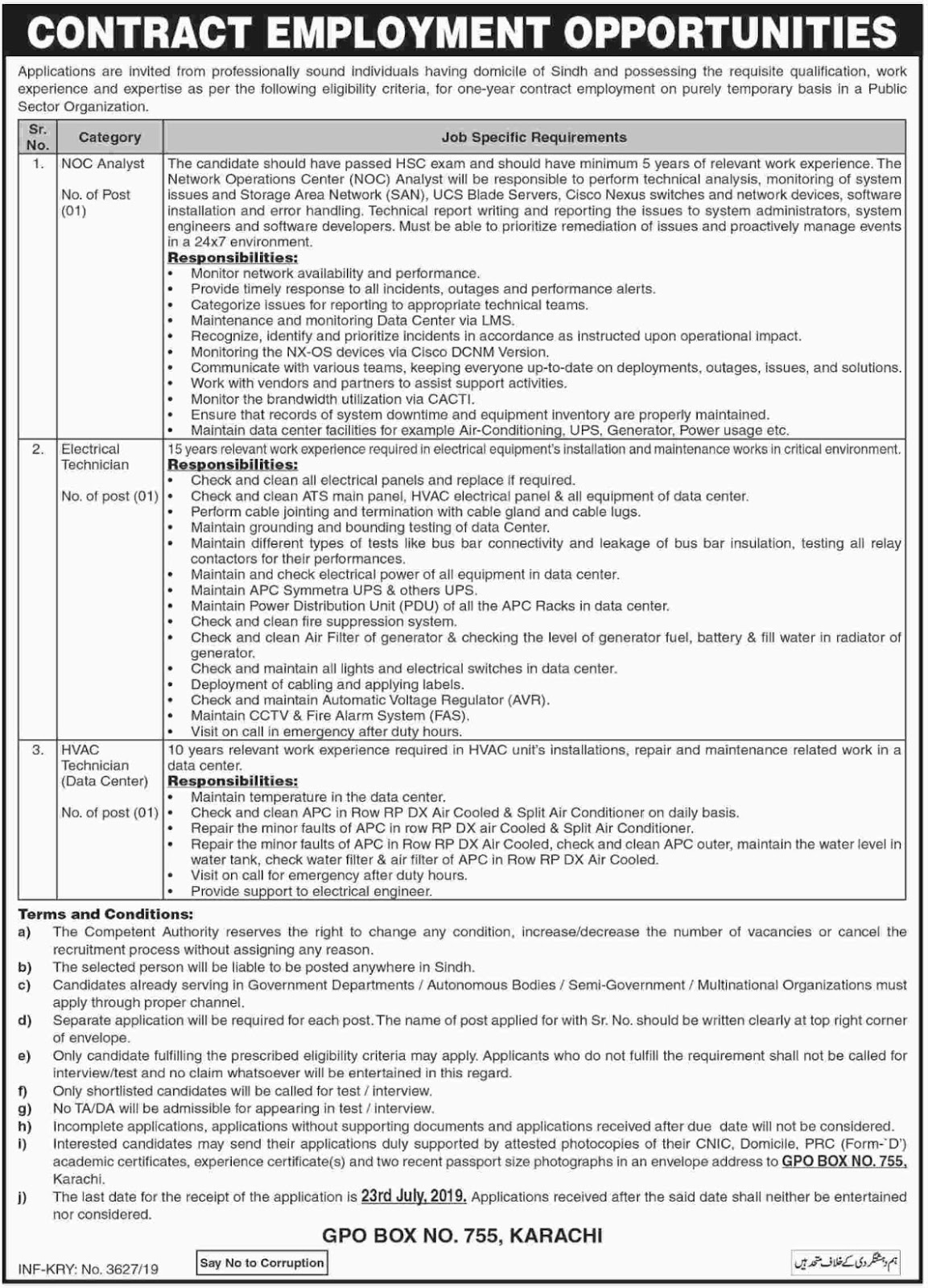 Public Sector Organization Jobs 2019 P.O.Box 755 Karachi