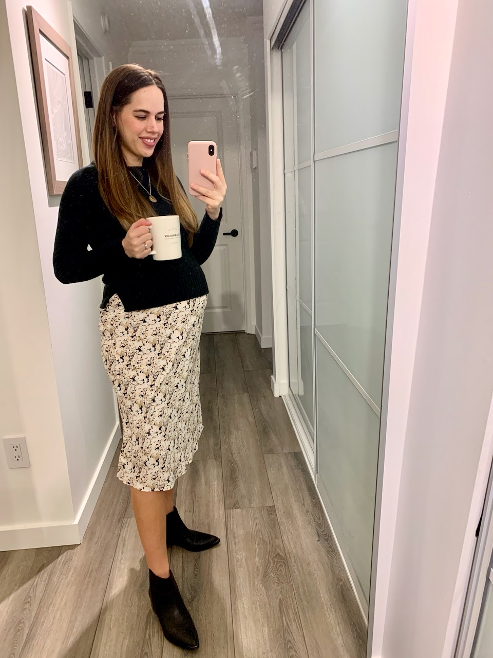 Jules in Flats - Floral Midi Skirt with Cropped Knit Sweater and Booties (Business Casual Workwear on a Budget)