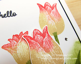 Card with sponged background and sponged flower petals using Stampin'UP!'s Timeless Tulips Bundle