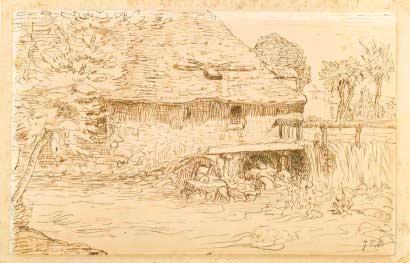 Жан Франсуа Милле - Водяная мельница под Виши. 1866