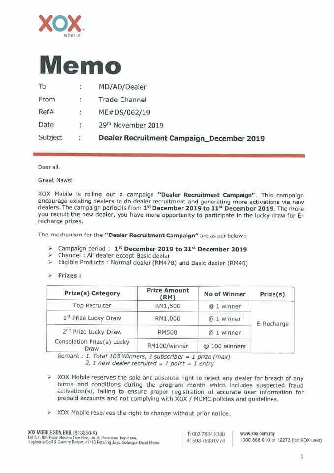 ONEXOX DEALER RECRUITMENT CAMPAIGN